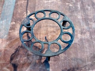Primitive Antique Plated Iron Metal Footed Trivet Stove Cover photo