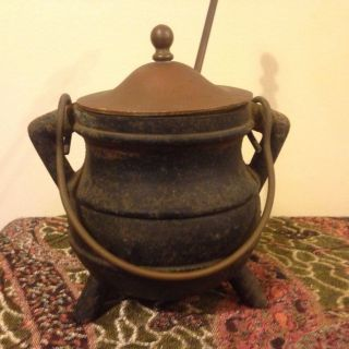 Vintage Cast Iron Witch Fire Starter Cauldron W/ Brass Lid & Pumice Wand. photo