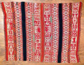 Rare Antique Ayamara Indian Woman ' S Wool Shawl,  Bolivia photo