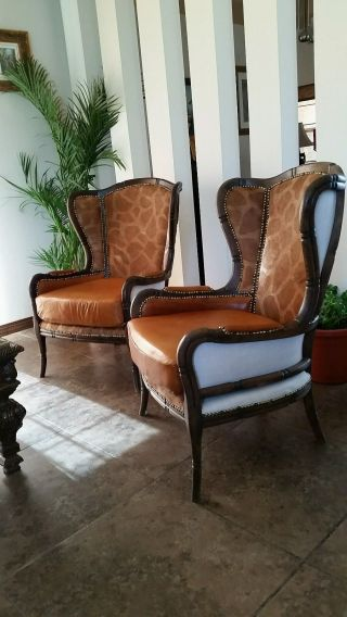 Exquisite Conac Italian Lamb Skin Leather Chippendale Style Wing Chairs photo