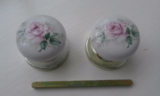 Vintage Reclaimed Ceramic Door Knobs,  Back Plate And Spindle photo
