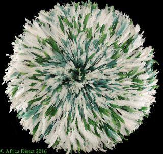 Juju Feather Headdress Bamileke Cameroon Green White African Art Was $195 photo