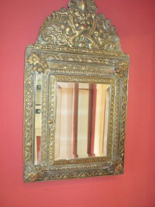Repousse Brass Victorian Wall Mirror & Clothes Brush photo