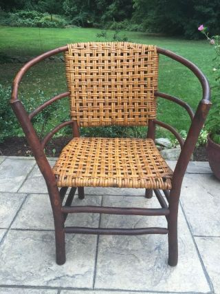 Antique Vintage Adirondack Hickory Wicker Willow Stick Rustic Wood Reed Chair photo