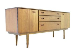 Mid Century Modern Teak 7ft Credenza Or Media Console,  Danish Style,  Minimalist photo