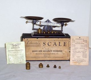 Pelouze Manufacturing Co.  Rexo Laboratory Scale W/ Weights & Box - Read photo