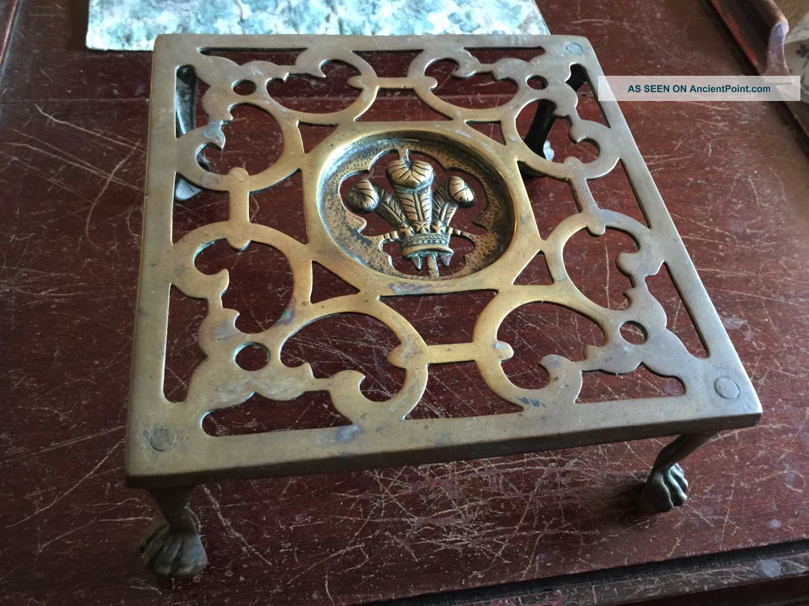 Vintage Ornate Brass Metal Fireplace Hearth Kettle Or Cooking Trivet Stand Trivets photo