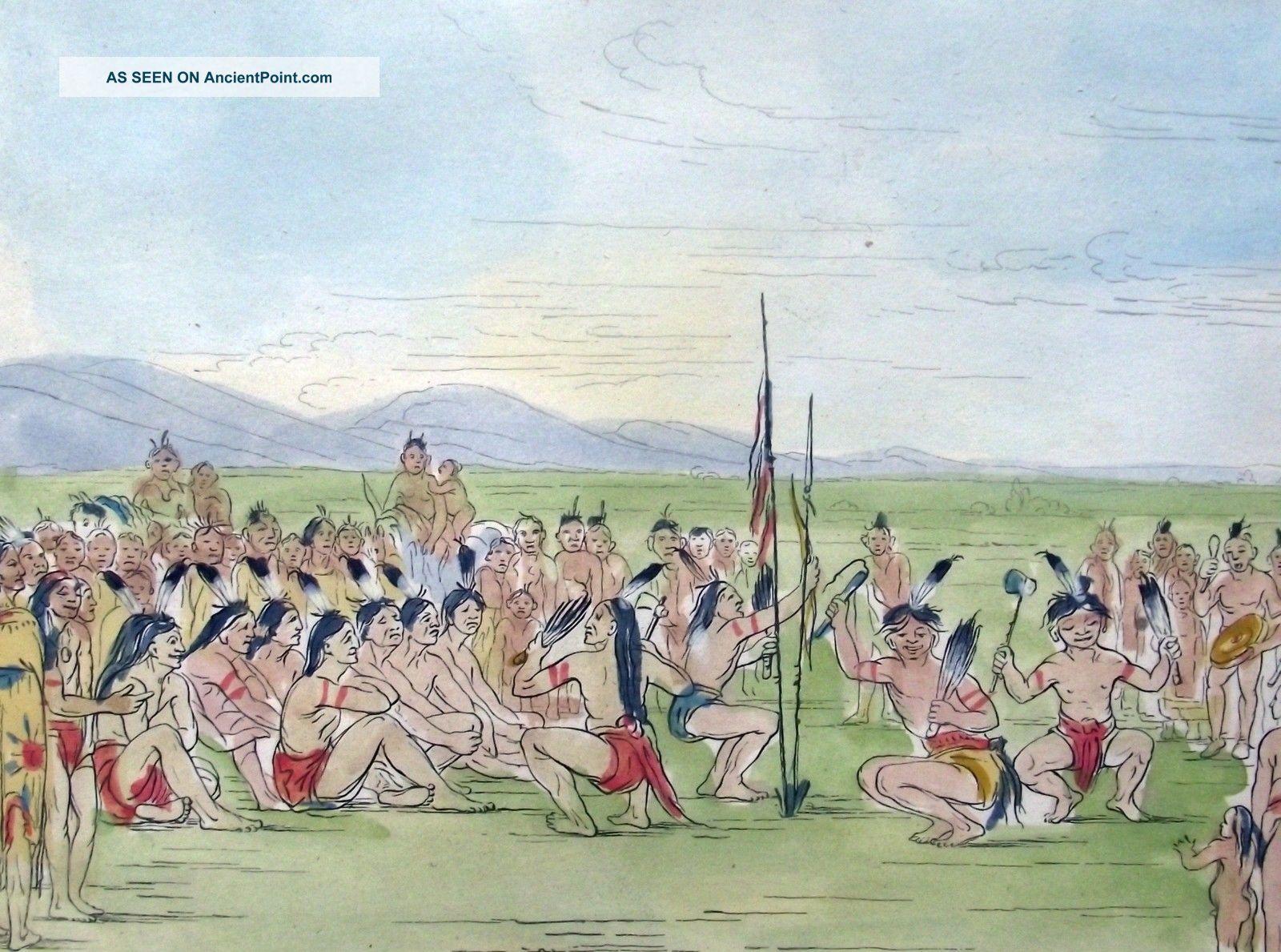 1842 G.  Catlin Handcol Engraving Native American Indians Eagle Dance Native American photo