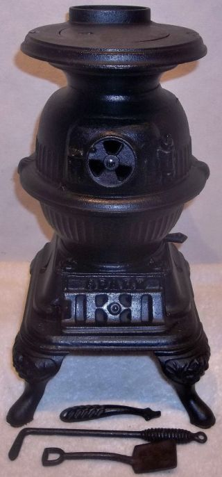 Antique Spark Miniature Cast Iron Pot Belly Stove Grey Iron Casting,  Mt Joy Pa photo