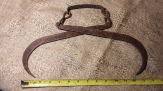 Vintage & Antique Ice Block Tongs/hook - Rustic Lodge Decor Fireplace Primitive photo