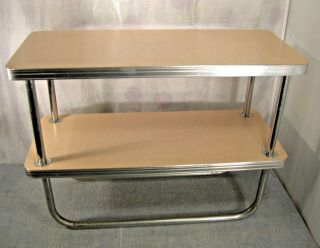 Wolfgang Hoffman End Table Art Deco Two Tier Royal Chrome Mid Century Modern photo