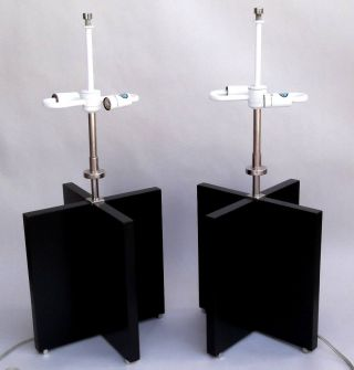 Pair Walter Von Nessen 2 - Light Black Wood Chrome Table Lamps Signed photo
