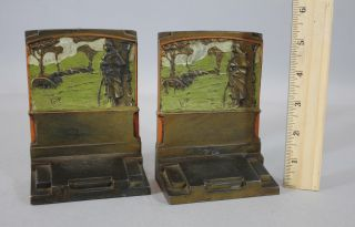 Antique Art & Crafts Pompeian Bronze The Shepherdess Polychrome Painted Bookends photo