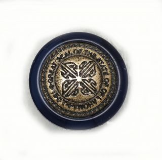 Button Antique Blue Glass 1907 Great Seal State Oklahoma Shank F/s photo