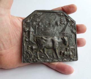 A Miniature Pewter / Lead Fireplace Fender From The 18th.  Century. photo