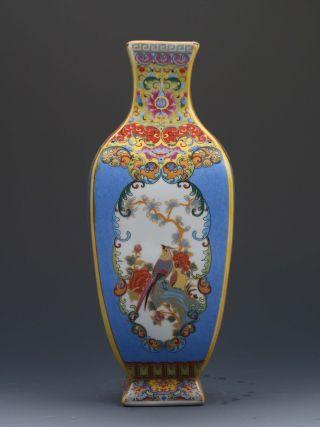 Chinese Cloisonne Handwork Paint Flowers & Birds Porcelain Vase G180 photo