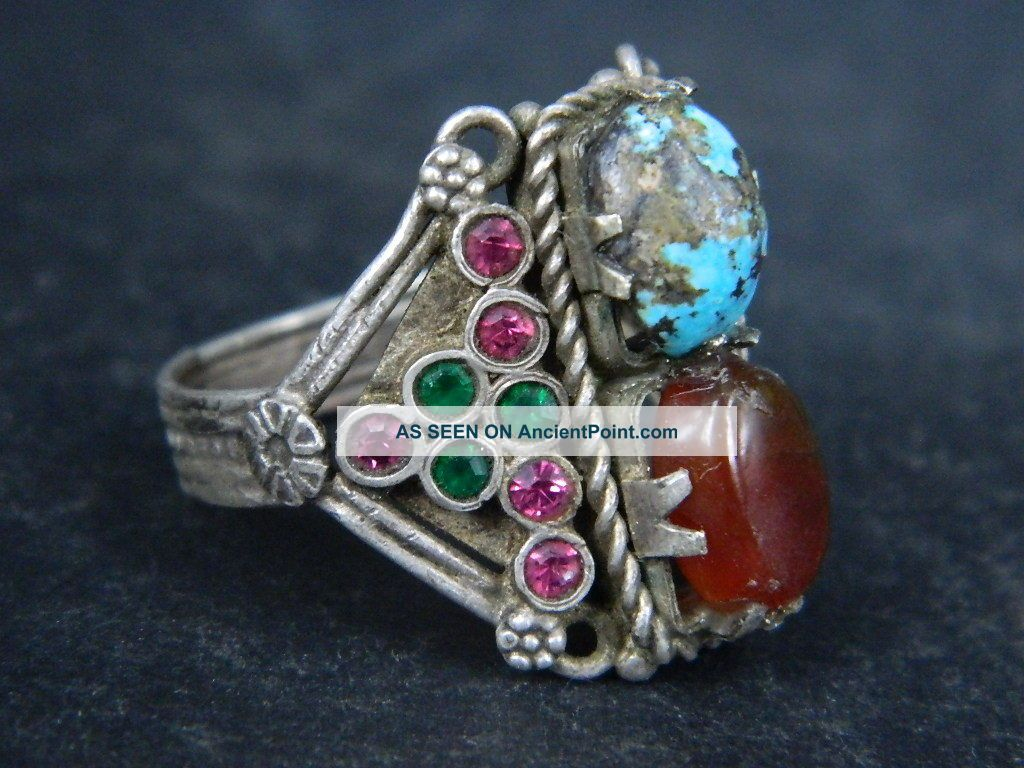 Antique Silver Ring With Stones Post Medieval 1800 Ad Stc451 Greek photo