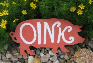 Wood Pig Piggy Oink Sign Primitive/french Country Farmhouse Kitchen Wall Decor photo