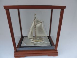 Finest Hand Crafted Japanese Sterling Silver Model Sailboat Yacht Ship Japan photo