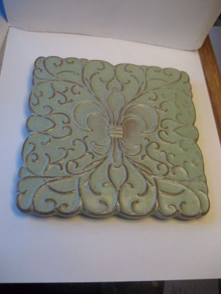 Vintage Frankoma 3tr Sea Foam Green & Brown Trivet/excellent photo