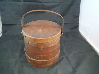 Wood Swing Handle Double Strapped Maple Sugar Sewing Firkin Bucket Basket photo