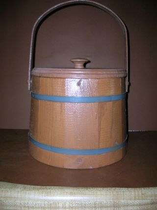 Maine Bucket Co.  Wood Metal Banded Stained W/ Lid & Wood Handle Rustic Primitive photo