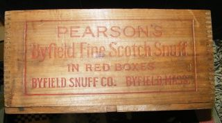 Antique Wood Box - Finger Joints - Pearson ' S Byfield Scotch Snuff Byfield,  Mass photo