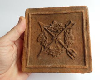 A Very Rare Decorated Fire Brick From The 16th.  Century (1550 - 1600) photo