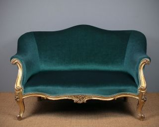 Small Antique Gilded Sofa C.  1895. photo