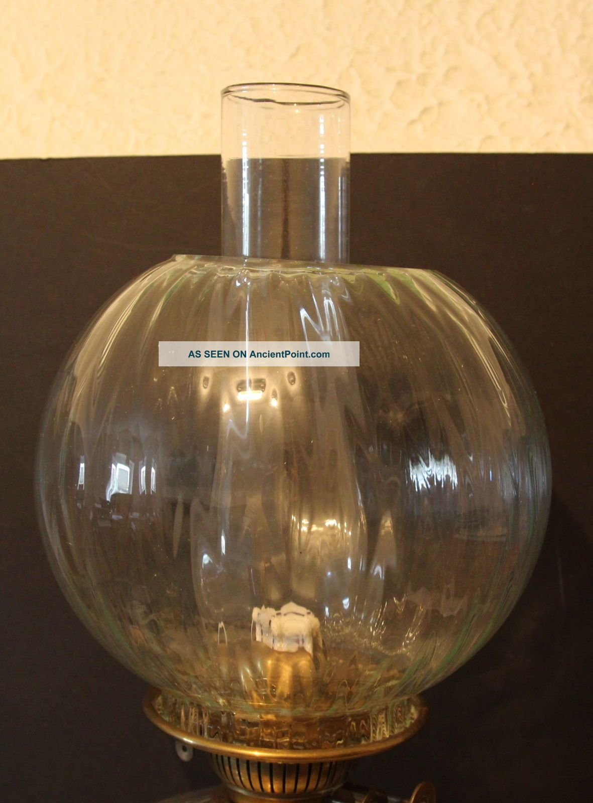 A Large Rouge Marble,  Brass & Glass Oil Lamp With Shade & Glass Font Edwardian (1901-1910) photo