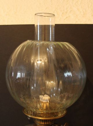 A Large Rouge Marble,  Brass & Glass Oil Lamp With Shade & Glass Font photo