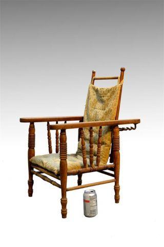 16896 Rare Victorian Oak Children ' S Morris Chair W/ Cushion & Rod photo