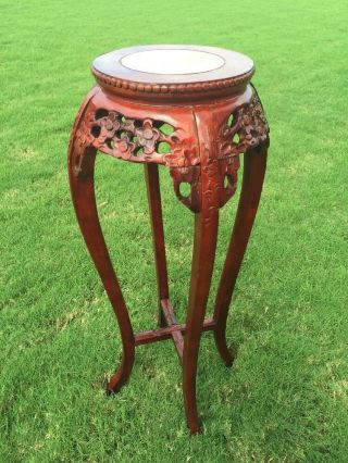Antique Rosewood Chinese Heavily Carved 36
