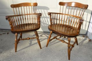 Nichols & Stone Solid Maple Windsor Style Arm Chairs 445 180 photo