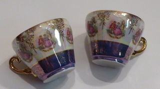 Vtg Demitasse Cups Victorian Couple Iridescent Blue Gold Handles Japan photo