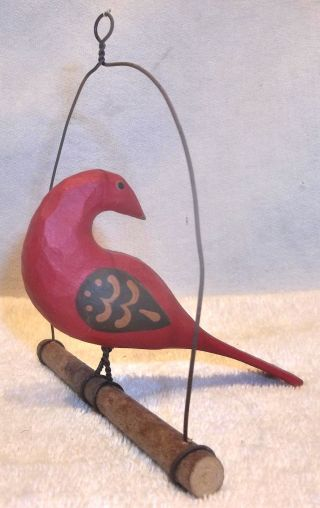 A.  Kohr Carved & Painted Wood Pa Folk Art Bird On A Swing Lancaster Co.  2 photo