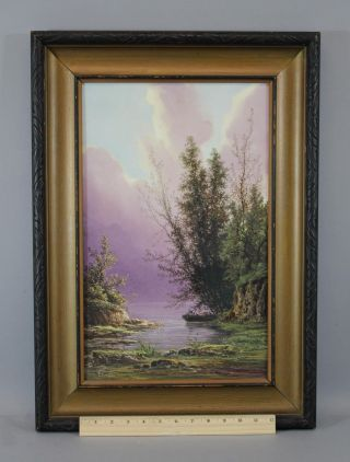 Lrg 9x12in Antique S.  Langlois Porcelain Plaque Landscape Fishing Painting,  Nr photo