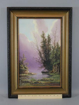 Lrg 9x12in Antique S.  Langlois Porcelain Plaque Landscape Fishing Painting,  Nr photo