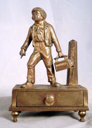 Gilt Bronze Figurine Box Matchsafe Match Box Shoe Shine Boy Austria Cobbler photo