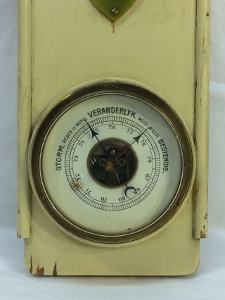 Antique Vintage Veranderlyk Weather Barometer Thermometer photo