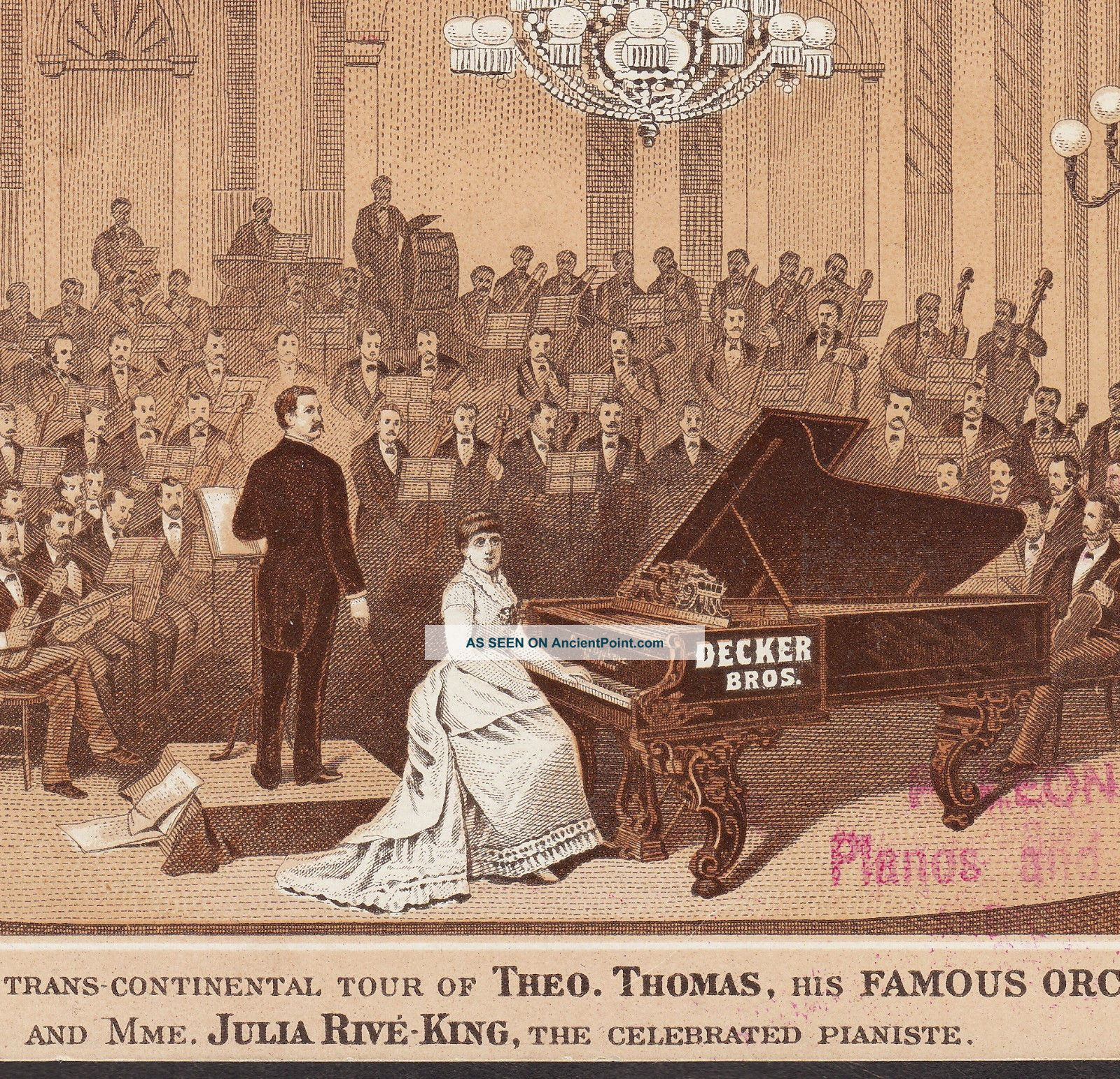 Decker Bros Piano Concert Julia Rive - King Theo Thomas Orchestra Advertising Card Keyboard photo