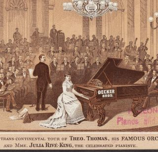 Decker Bros Piano Concert Julia Rive - King Theo Thomas Orchestra Advertising Card photo