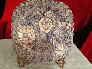 Vintage Tiffany & Co Johnson Blue Chintz Liberty Square Salad Plate 2 Plates photo
