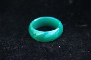 China Liao Ning Pure Natural Agate Chalcedony Jade Jadeite Hand - Carved Ring H20 photo