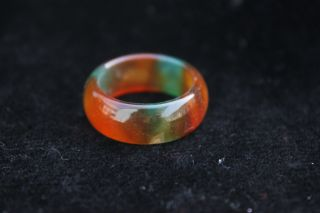 China Liao Ning Pure Natural Agate Chalcedony Jade Jadeite Hand - Carved Ring H15 photo