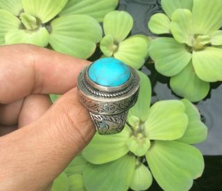 Men ' S Silver Rings Turquoise Engraved Horse Near Eastern Islam Vintage Afghan 11 photo
