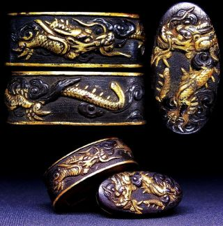 "Fine Fuchi/kashira 18 - 19th C Japanese Edo Antique Sword Fitting ""dragon"" C974 photo"
