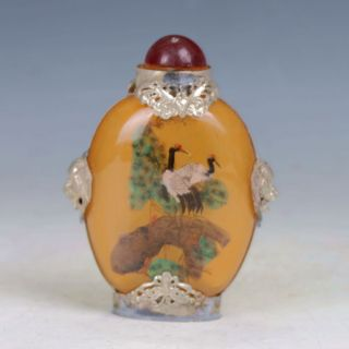 Oriental Vintage (18 19th) Glass Handwork Red - Crowned Crane Motif Snuff Bottle photo