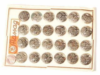 Card (24) 22mm Austrian Art Nouveau Vintage Massag Floral Metal Buttons photo