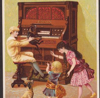 Aeolian Organ & Player Piano Co Music Dog Heppe Victorian Advertising Trade Card photo